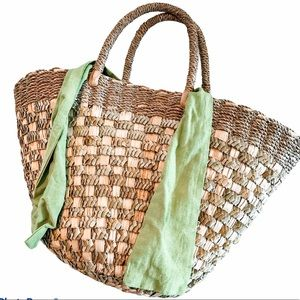 Large Woven Straw Tote with Bow